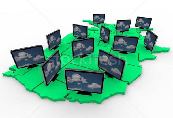 многие hdtv США карта быстрый Сток-фото © iqoncept