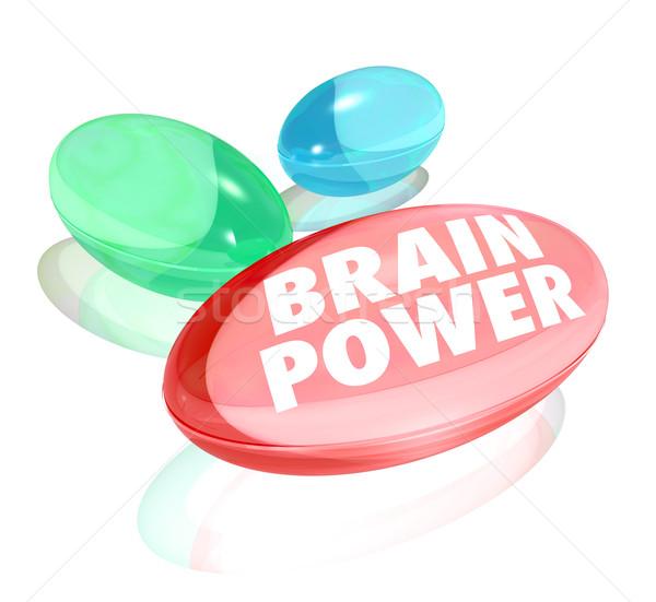 Mózgu moc kapsułki alternatywa witaminy Zdjęcia stock © iqoncept
