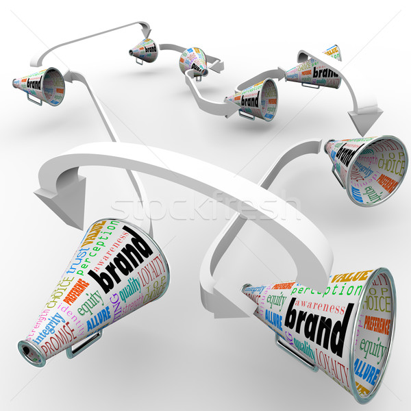 Brand Megaphones Bullhorns Connected Marketing Promotion Stock photo © iqoncept
