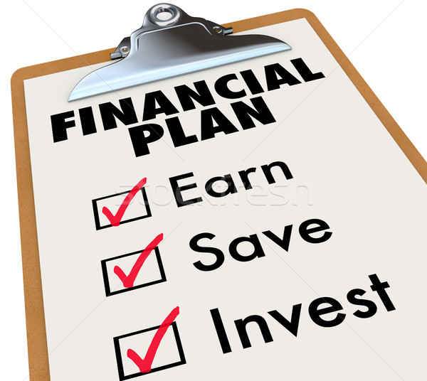 Financial Plan Clipboard Money Saving Strategy Steps Stock photo © iqoncept