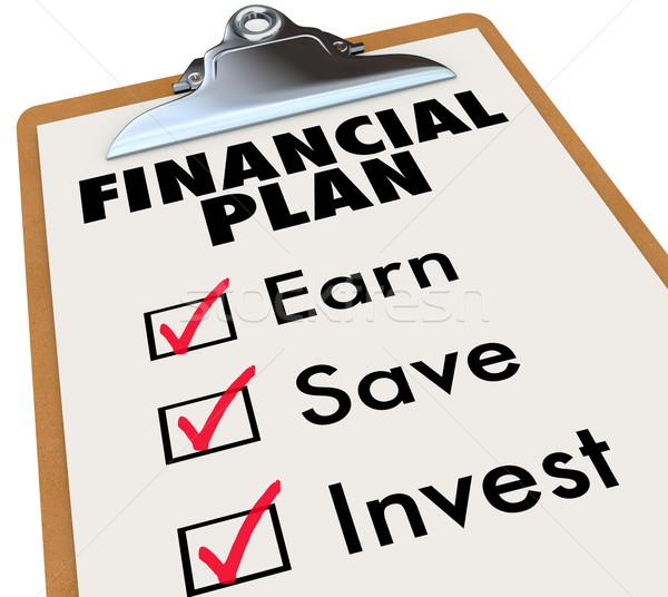 финансовых плана буфер обмена деньги стратегия Сток-фото © iqoncept