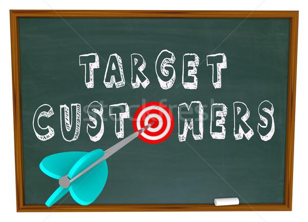 Target klanten woorden schoolbord geschreven achtergrond Stockfoto © iqoncept