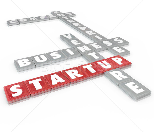 Startup Word Tiles Business Company Enterprise Venture Stock photo © iqoncept
