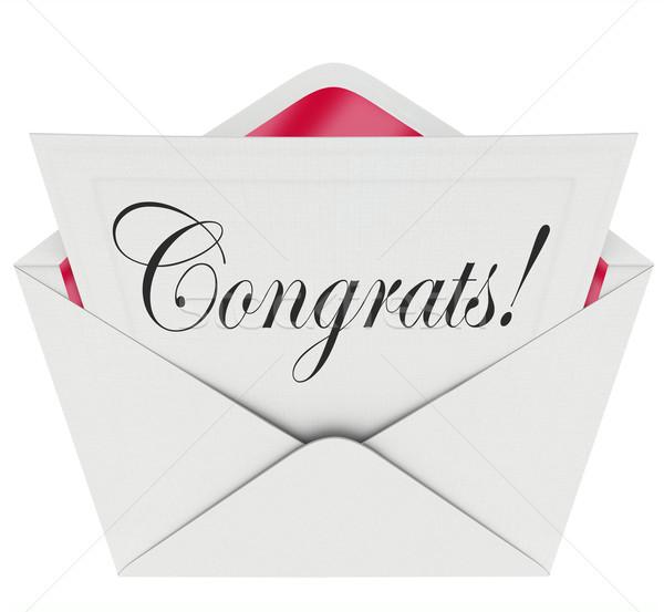 Uwaga otwarte list karty kopercie gratulacje Zdjęcia stock © iqoncept