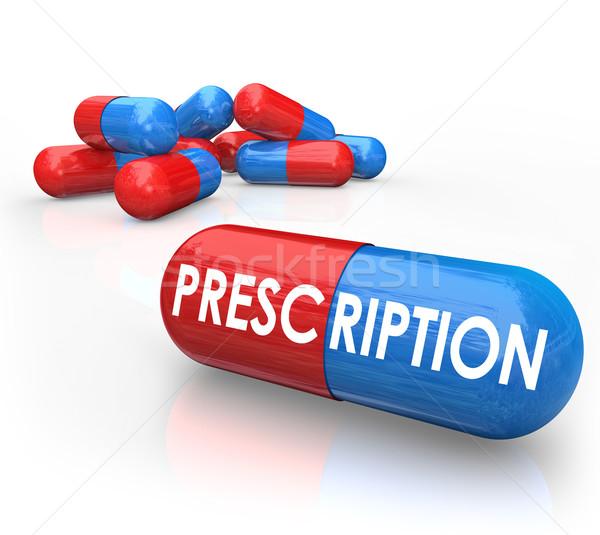 Recept szó tabletták kapszulák előírás szerinti gyógyszer Stock fotó © iqoncept