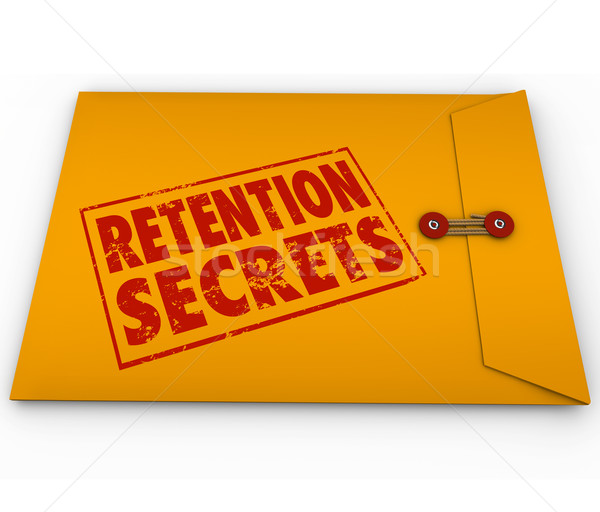 Retention Secrets Yellow Envelope Retain Employees Customers Stock photo © iqoncept
