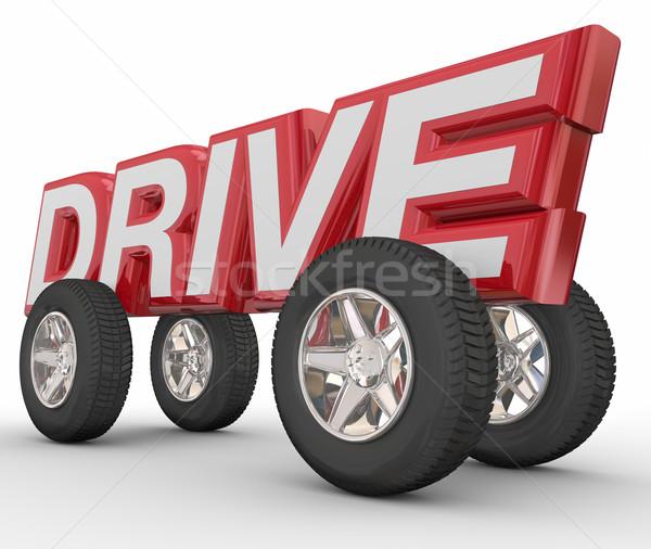 Zdjęcia stock: Dysk · 3D · słowo · koła · opony · samochodu