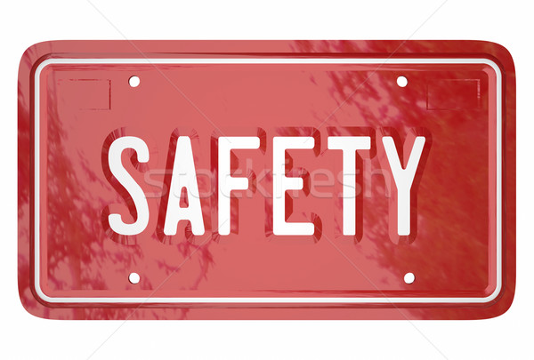 Safety Driving Skills Car Vehicle Automobile License Plate 3d Wo Stock photo © iqoncept