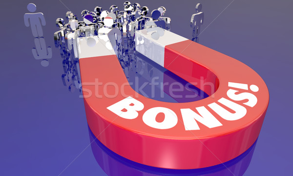 Bonus Premium Incentive Magnet Attracting People 3d Illustration Stock photo © iqoncept
