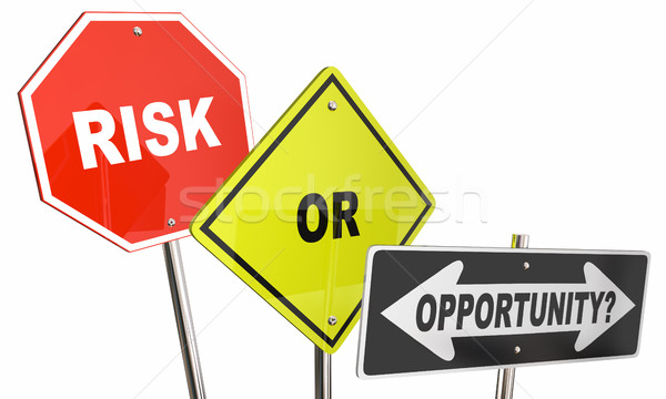 Risk or Opportunity Road Street Direction Signs Stop Move Forwar Stock photo © iqoncept