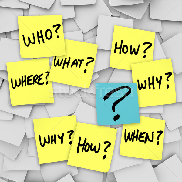 Questions and Question Mark - Sticky Note Confusion Stock photo © iqoncept