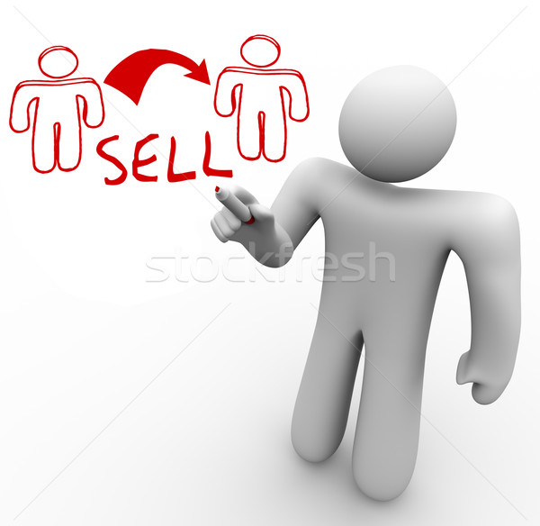Instructor Draws Sales Diagram One Person Sells to Another Stock photo © iqoncept