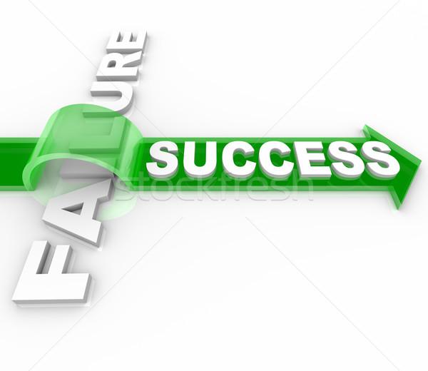Foto stock: éxito · vs · fracaso · obstáculo · llegar · objetivo