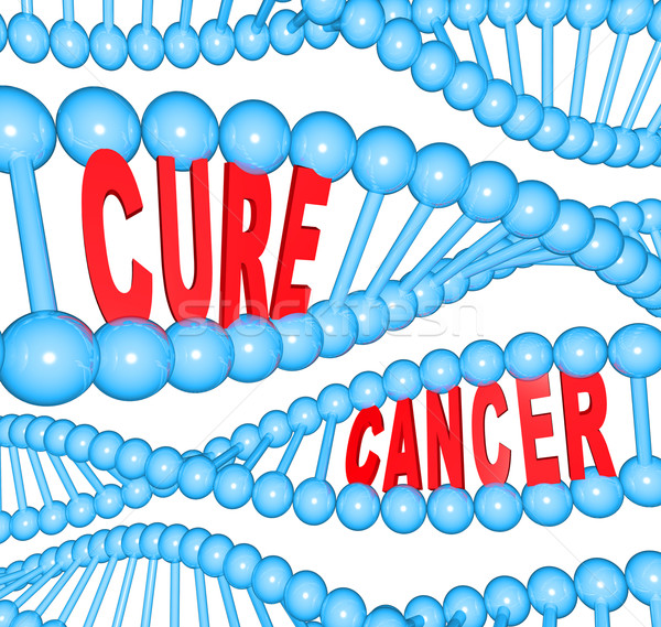 Cure Cancer Words in DNA Strands Medical Research Stock photo © iqoncept