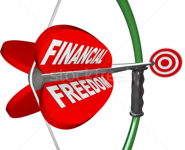 Financial Freedom Independence Bow Arrow Target Goal Stock photo © iqoncept