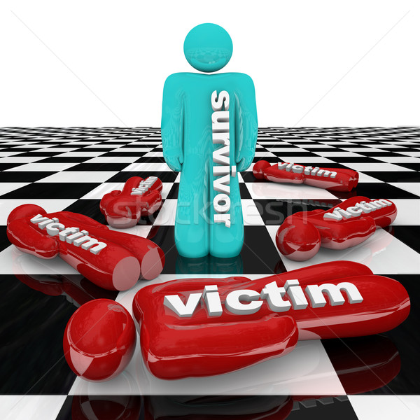 One Survivor Among Many Victims Person Stands Alone Stock photo © iqoncept