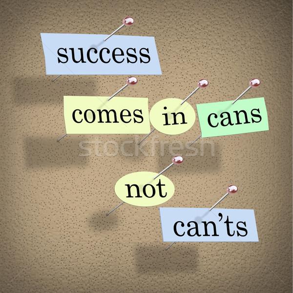 Succes niet positieve houding gezegde papier stukken Stockfoto © iqoncept