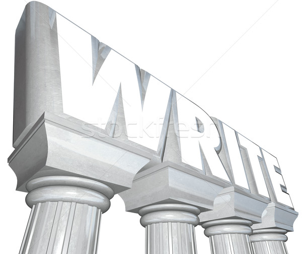 Write Word Marble Columns Writing Communication Stock photo © iqoncept