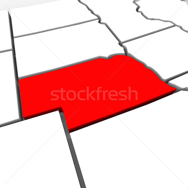 Stock photo: Nebraska Red Abstract 3D State Map United States America