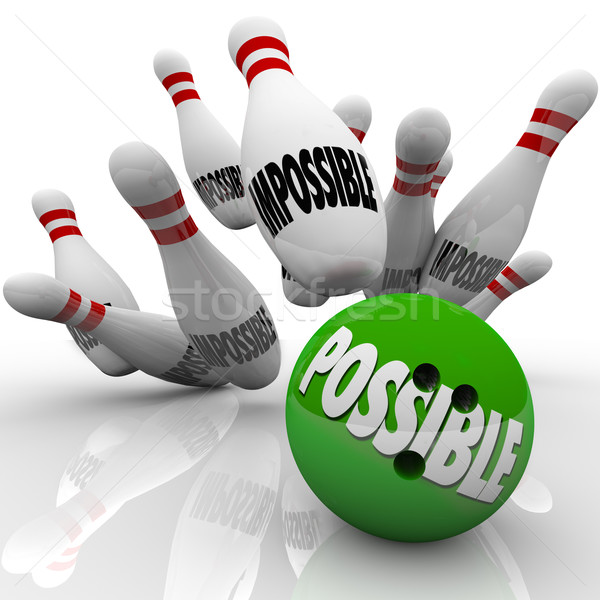 Possible Bowling Ball Strike Impossible Pins Achieving Goal Stock photo © iqoncept