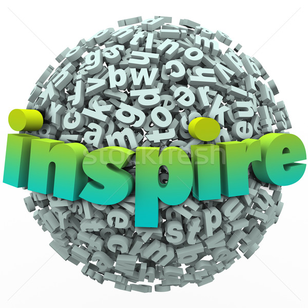 Inspire Word 3D Letter Sphere Ball Motivational Education Stock photo © iqoncept