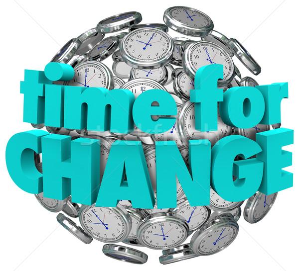 Tempo cambiare orologi palla sfera innovativo Foto d'archivio © iqoncept