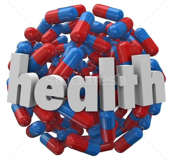 Sağlık tıp hap kapsül top küre Stok fotoğraf © iqoncept