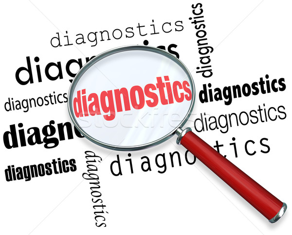 Diagnostics Word Magnifying Glass Finding Solution Problem Data Stock photo © iqoncept