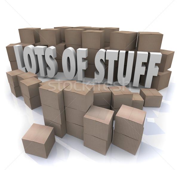 Carton cases salissant stockage mots Photo stock © iqoncept