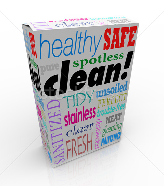 Clean Word Product Box Package Safe Healthy Pure Sanitized Stock photo © iqoncept