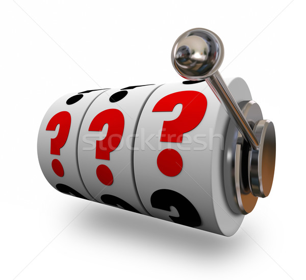 Question Marks on Slot Machine Wheels Uncertainty Risk Stock photo © iqoncept