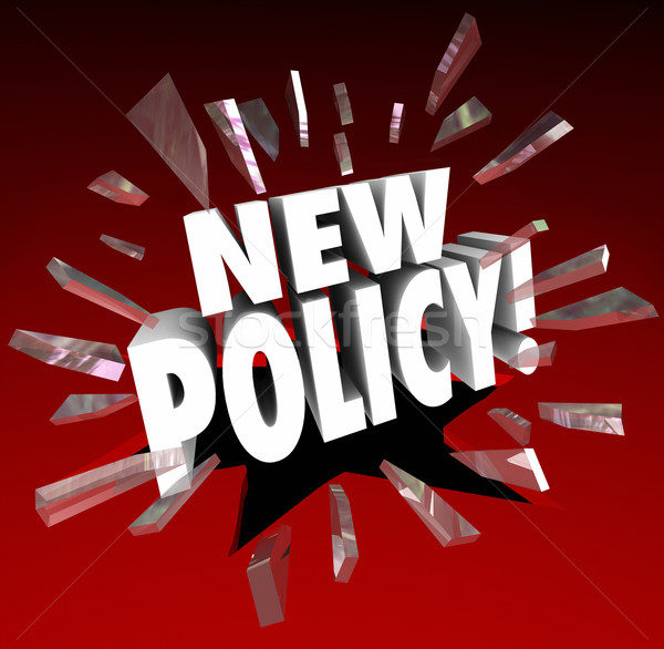 Stock photo: New Policy Word Announcing Official Rules Regulation Compliance
