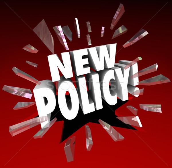 Neue Politik Wort offiziellen Regeln Stock foto © iqoncept