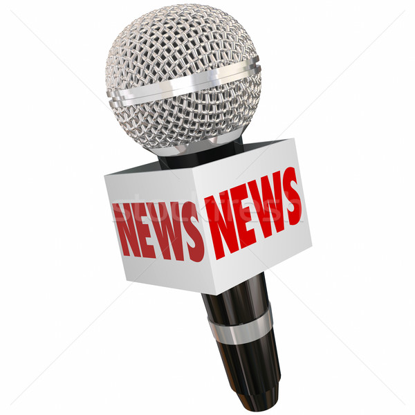 News Microphone Box Interview Radio TV Television Reporting Stock photo © iqoncept