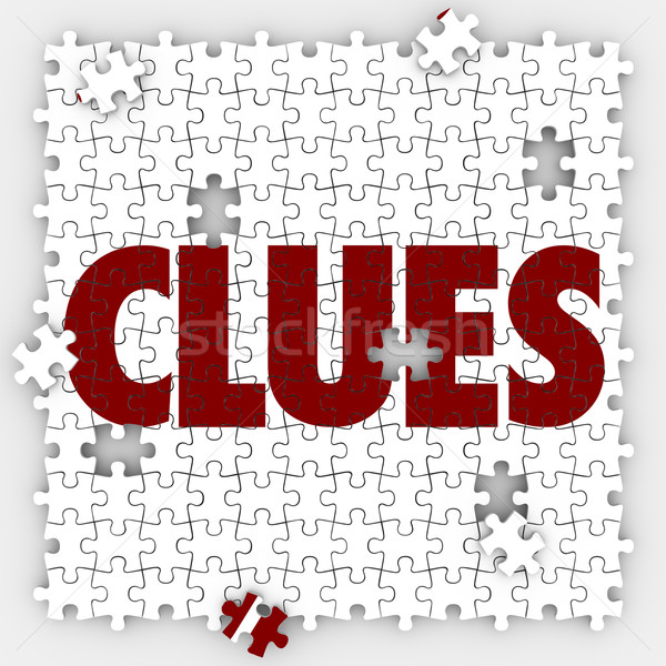 Clues Puzzle Pieces Holes Finding Searching Mystery Solution Stock photo © iqoncept