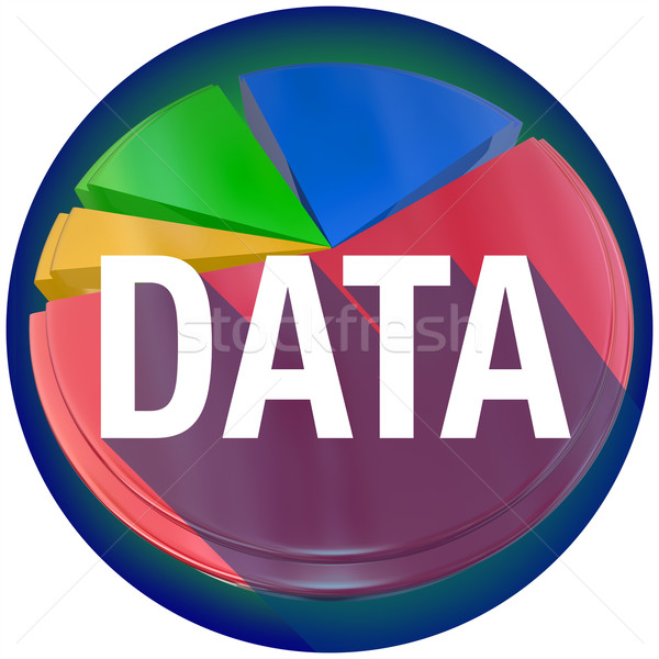 Data Pie Chart Word Long Shadow Circle Seal Stock photo © iqoncept