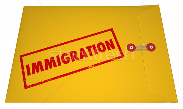 Immigration Files Documents Application Envelope Stamped Word 3D Stock photo © iqoncept