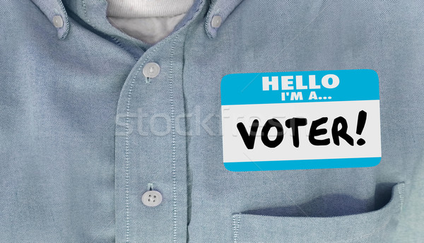 Hello I am a Voter Election Politics Delegate Name Tag Shirt Stock photo © iqoncept