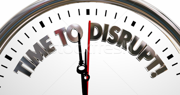 Time to Disrupt Change Innovate Rethink Clock 3d Illustration Stock photo © iqoncept