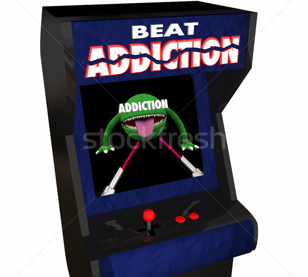 Addiction Fight Drug Alcohol Abuse Video Game Arcade 3d Illustra Stock photo © iqoncept