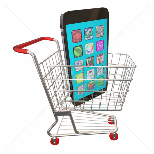 New Cell Phone Shopping Cart Buy Sale 3d Illustration Stock photo © iqoncept