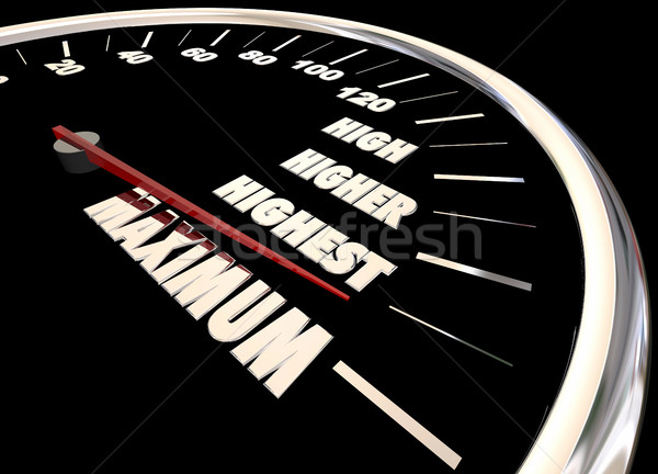 Maximum High More Best Results Speedometer 3d Illustration Stock photo © iqoncept