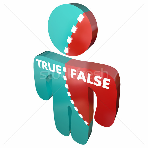 True Vs False Right Wrong Person Accurate Correct 3d Illustratio Stock photo © iqoncept