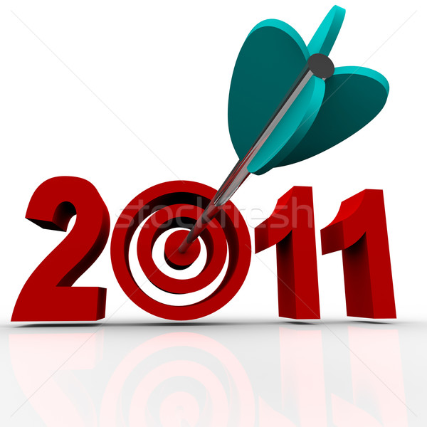 Stock photo: Year 2011 in Red Letters with Bullseye Arrow