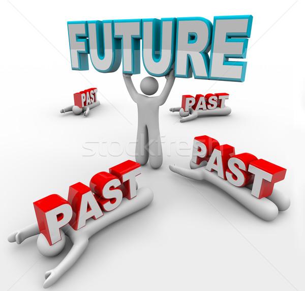 Vezető előrelátás jövő apró leragasztott múlt Stock fotó © iqoncept