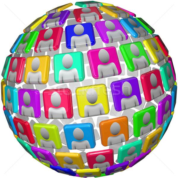 Emberek gömb alakú minta globális közösségi háló gömb Stock fotó © iqoncept