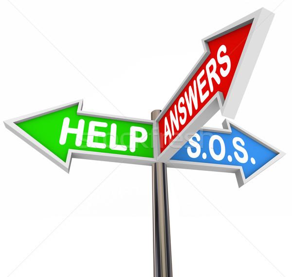 Helpen ondersteuning straat borden hulp richting Stockfoto © iqoncept