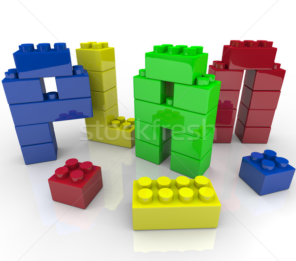 Plan Word Toy Building Blocks Building Strategy Stock photo © iqoncept