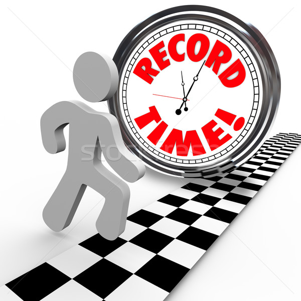 Record Time Runner Beats Clock for Best Timing Stock photo © iqoncept