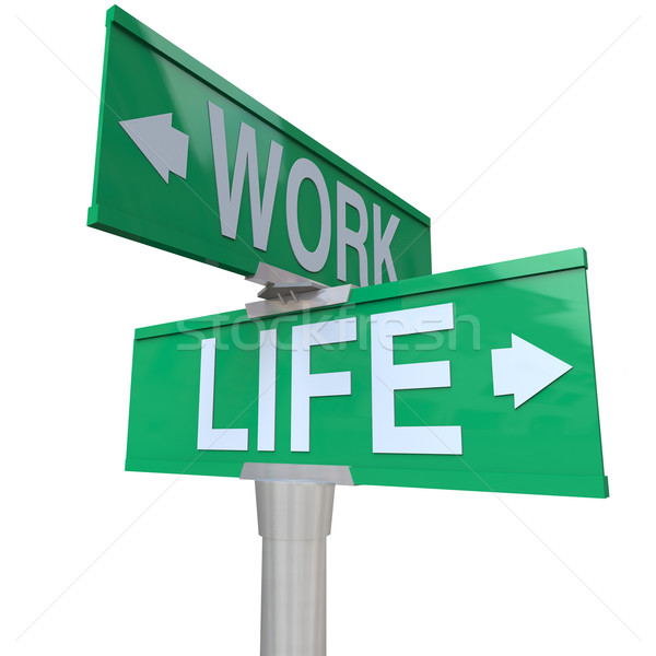 Stock photo: Work vs Life Balance Choices Two Way Street Road SIgns